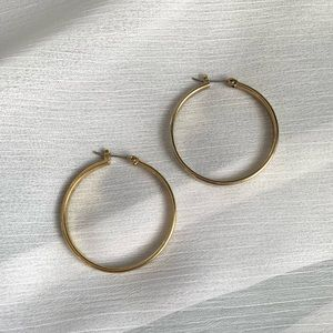 Jewelry - Gold and White Enamel Hoop Earrings